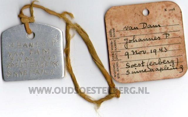 Dogtag Johan van Dam 1943